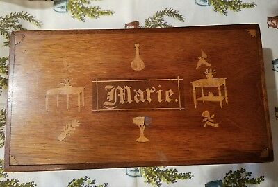 """Antique Vintage Inlaid Wood Jewelry or Trinket or Stationary Box Name """"Marie"""""""