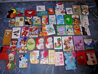 Lot of 50 Vintage 1960/1970 USED Greeting Cards  SCRAPBOOKING animals