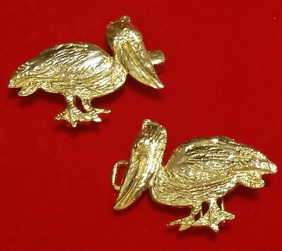 Vintage 1974 Gold Tone Mimi Di N Pelican Nautical Ladies Buckle Set
