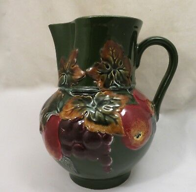 Antique Vintage Hand Painted Jug Pitcher Made in Czechoslovakia Fruit