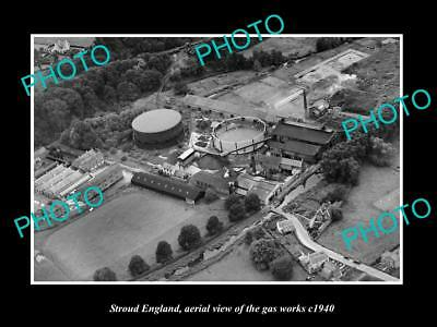 OLD LARGE HISTORIC PHOTO OF STROUD ENGLAND, VIEW OF THE TOWN GAS WORKS c1940
