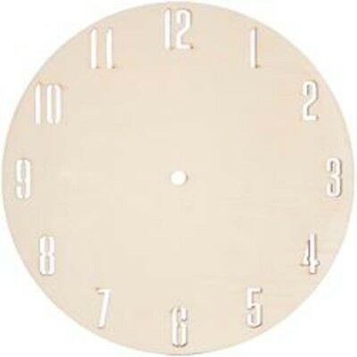 """9""""X.24"""" - Unfinished Wood W/Lasercut Numbers Clock Face Round"""