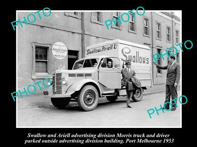 OLD LARGE HISTORIC PHOTO OF SWALLOW & ARIELL DELIVERY TRUCK c1953, MELBOURNE