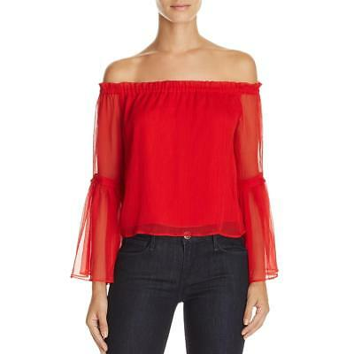 63356fbaa0cb0 Lucy Paris Womens Red Chiffon Off-The-Shoulder Pullover Top Blouse XS BHFO  3898