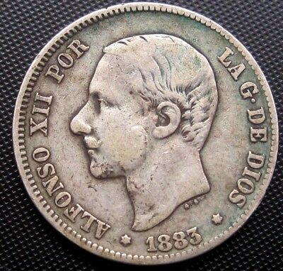 1883 Spain 2 Pesetas KM#678.2 - Silver Coin **LOW MINTAGE**
