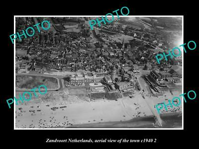 OLD LARGE HISTORIC PHOTO ZANDVOORT NETHERLANDS HOLLAND, TOWN AERIAL VIEW c1940 3