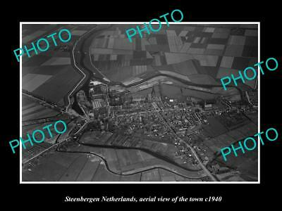Old Large Historic Photo Steenbergen Netherlands Holland Town Aerial View 1940