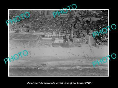 OLD LARGE HISTORIC PHOTO ZANDVOORT NETHERLANDS HOLLAND, TOWN AERIAL VIEW c1940 2