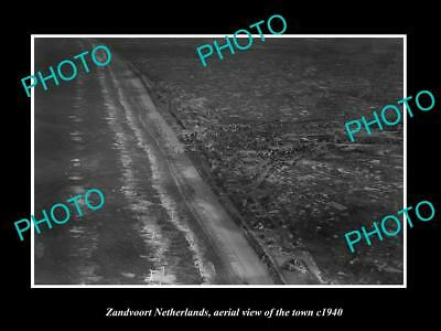 OLD LARGE HISTORIC PHOTO ZANDVOORT NETHERLANDS HOLLAND, TOWN AERIAL VIEW c1940 1