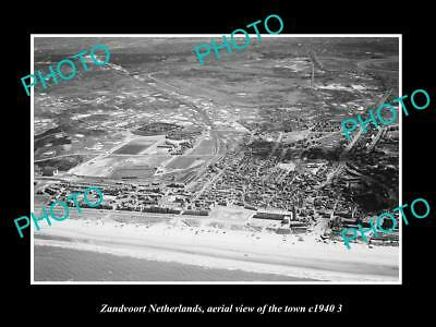 OLD LARGE HISTORIC PHOTO ZANDVOORT NETHERLANDS HOLLAND, TOWN AERIAL VIEW c1940 4
