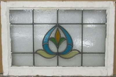 """MID SIZED OLD ENGLISH LEADED STAINED GLASS WINDOW Pretty Crest 27.5"""" x 18.25"""""""
