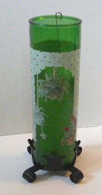 vintage unused green glass Cylinder Candle lattice plants w/ black metal stand