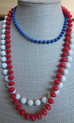 Red White and Blue Lot of 3 Vintage Plastic Bead Strand Necklaces  Lot P6