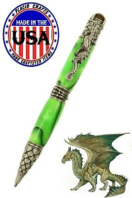 Hand Turned Dragon Ballpoint With Green Body & Antique Pewter Hardware / #328