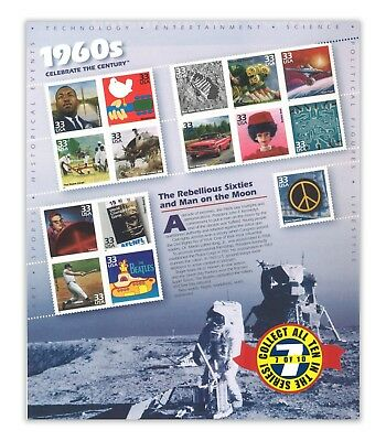 USA 1998 Celebrate the Century 1960s No.7 In A Series of Ten Sheets Stamps MUH