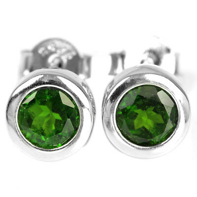 Unheated Round 2mm Top Rich Green Chrome Diopside 925 Sterling Silver Earrings Factories And Mines Fine Earrings