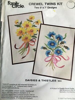 Daisies and Thistles Crewel Embroidery Kit (2 in 1) Vintage Family Circle 5x7 Ea