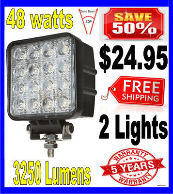 2x 48watt LED Worklight Spot Lamp for jeep Boat Tractor Offroad UTE 4WD 48w