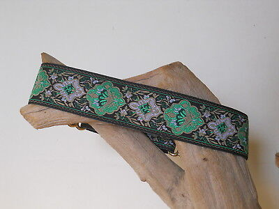 Renaissance Faire Green Jacquard 1 1/2 Inch Custom Made Martingale Dog Collar