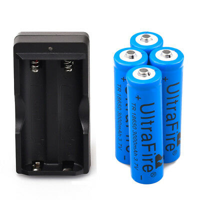 4x Ultrafire 3000mAh 3.7V Li-ion Rechargeable 18650 Battery + 1x Dual Charger