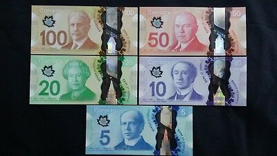 CANADA $100 $50 $20 $10 & $5 Dollars x 5 UNC Polymer Banknotes