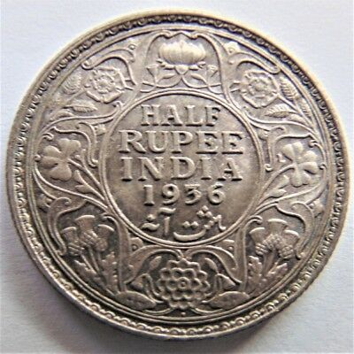 1936(b) INDIA-BRITISH, GEORGE V, 1/2 Rupee, grading About UNCIRCULATED.