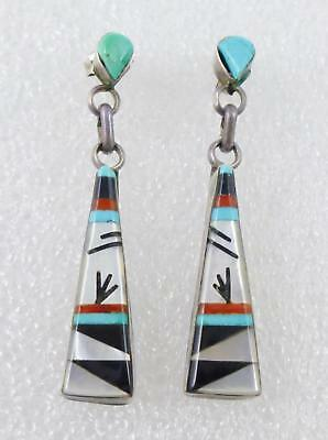 M. Noche Zuni  Native American MOP Jet Turquoise Sterling Silver Dangle Earrings