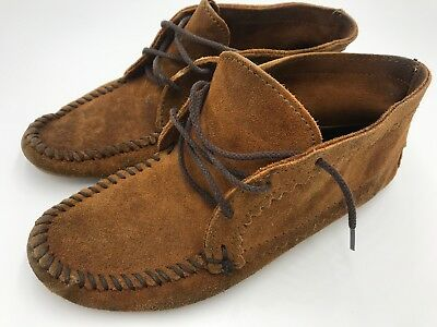 Minnetonka Moccasin Womens Brown Suede Leather Bootie Mocs Shoes 8.5 - 9