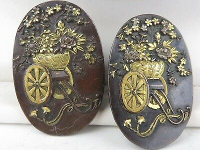 Antique Meiji Japanese Shakudo  pair 2 Buttons (earrings)