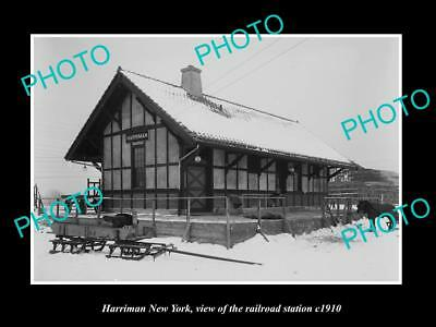 OLD LARGE HISTORIC PHOTO OF HARRIMAN NEW YORK, ERIE RAILROAD STATION c1910 3