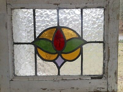 L-131 Lovely Older Leaded Stained Glass Window F/England   20 1/8 W X 16 3/4 T