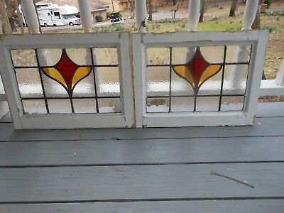 L-118 Lovely Older Leaded Stained Glass Window F/England 2 Available 20 3/8 X 15