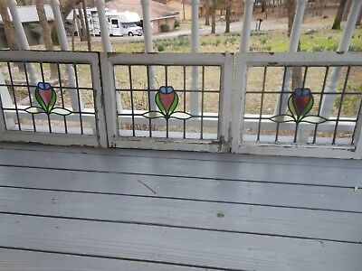 L-115 Lovely Older Leaded Stained Glass Window From England 5 Available
