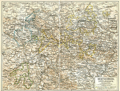 Braunschweig Map,1886 Folding Chromolithograph,Germany,Color,Antique Print
