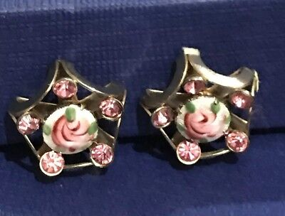 Antique Rhinestone  Screw-Back Guilloche Enamel Green Pink Roses Flower Earrings