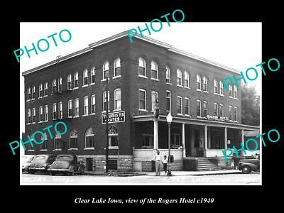 OLD LARGE HISTORIC PHOTO OF CLEAR LAKE IOWA, VIEW OF THE ROGERS HOTEL c1940
