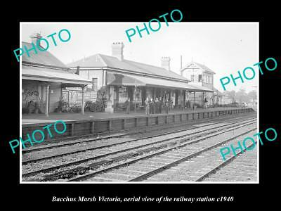 OLD LARGE HISTORIC PHOTO OF BACCHUS MARSH VICTORIA, THE RAILROAD STATION c1940