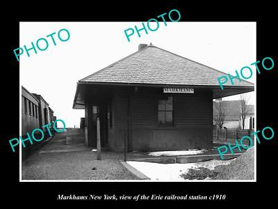 OLD LARGE HISTORIC PHOTO OF MARKHAMS NEW YORK, ERIE RAILROAD STATION c1910