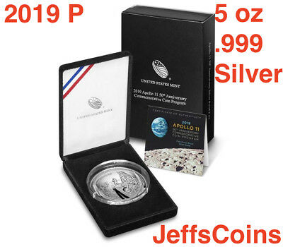 2019 P Apollo 11 50th Anniversary Five Ounce Proof Silver Dollar 19CH 5 oz  .999