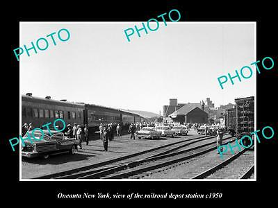 OLD LARGE HISTORIC PHOTO OF ONEONTA NEW YORK, THE RAILROAD DEPOT STATION c1950