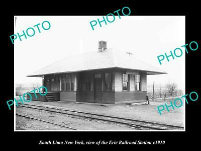 OLD LARGE HISTORIC PHOTO OF SOUTH LIMA NEW YORK, ERIE RAILROAD STATION c1910 1