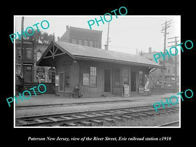 OLD LARGE HISTORIC PHOTO OF PATERSON NEW JERSEY, RIVER RAILROAD STATION c1910 2