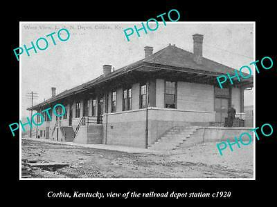 OLD LARGE HISTORIC PHOTO OF CORBIN KENTUCKY, THE RAILROAD DEPOT STATION c1920