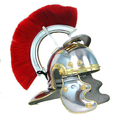 Roman-Centurion-Helmet-Red-Crest-Plume-Medieval-Gladiator-Knight-Armour-Helm
