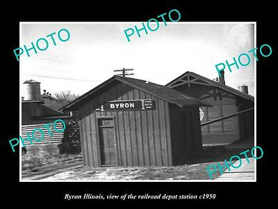 OLD LARGE HISTORIC PHOTO OF BYRON ILLINOIS, THE RAILROAD DEPOT STATION c1950