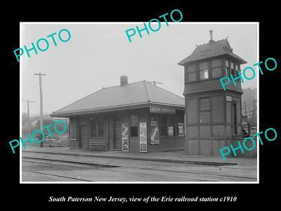 OLD HISTORIC PHOTO OF SOUTH PATERSON NEW JERSEY, ERIE RAILROAD STATION c1910 1