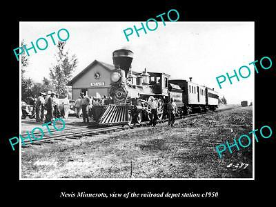OLD LARGE HISTORIC PHOTO OF NEVIS MINNESOTA, THE RAILROAD DEPOT STATION c1950