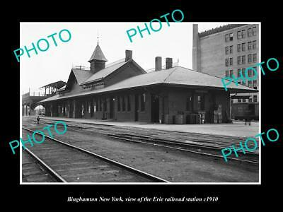 OLD LARGE HISTORIC PHOTO OF BINGHAMTON NEW YORK, ERIE RAILROAD STATION c1910 1