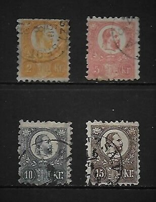 HUNGARY four used 1871 values to 15kr CV £70+