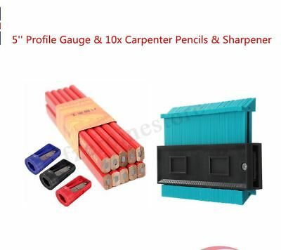Contour Profile Gauge/10x Carpenter Pencils/Sharpener Woodwork Marking Buliders